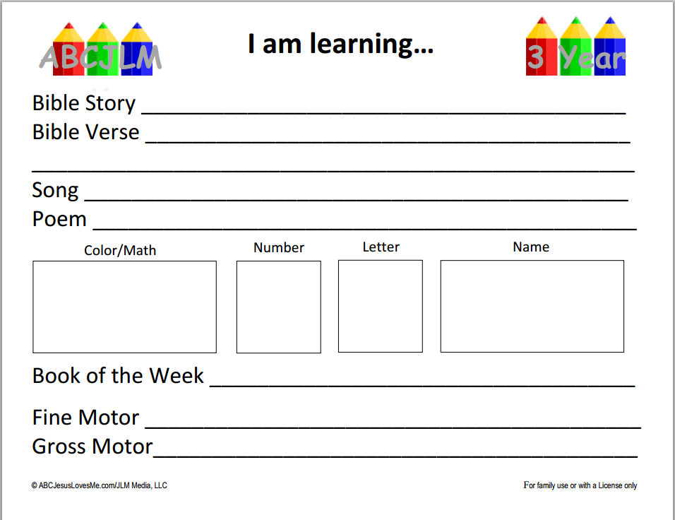 Free Preschool Curriculum ABC Jesus Love Me - Pre k lesson plan template