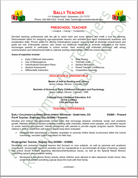 The Preschool Professor  Example Teaching Resume