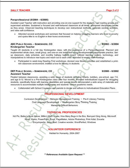 sample resume preschool teacher